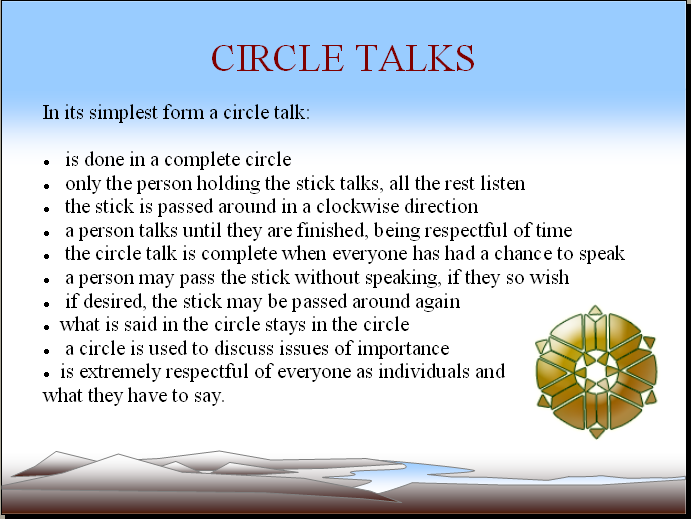 Talking Circles Overview From The First Nations Pedagogy